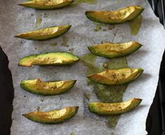 Roasted Avocado slices: avocado, olive oil, salt, pepper, garlic powder.  Bake at 400 degrees for about 15 minutes.