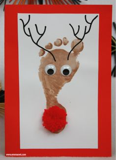 Footprint Reindeer Christmas Card