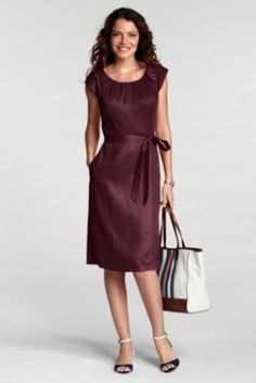 Women's Regular Shirred Linen Sheath Dress from Lands' End