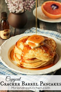 These Copycat Cracker Barrel Pancakes are easier to make than most pancake recipes you can get your hands on! Just 5 ingredients and 5 minutes to have hot pancakes from scratch on the griddle. I even included a recipe for you to make your own mix up to have on hand for pancake emergencies. #pancakes #crackerbarrel #copycatrecipe