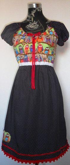 Tunika Kleid Hänger  Vogel Bird  Eule  rot blau von Zellmann Fashion auf DaWanda.com