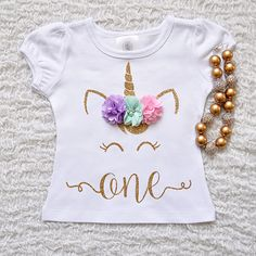 Items similar to Pink and Gold Unicorn Birthday shirt, Personalized Unicorn Birthday shirt, Unicorn Birthday outfit, Girls Birthday Shirt, Gold Unicorn on Etsy Unicorn Birthday Parties, Unicorn Party, My Little Unicorn, Unicorn Gifts, Unicorn Shirt, Spring Colors, Birthday Shirts, Holidays And Events, Baby Dress