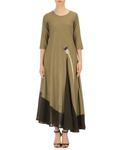 Purvi Doshi Olive Green Khadi Solid Asymmetric Dress