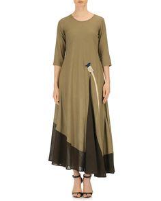 Purvi Doshi Olive Green Khadi Solid Asymmetric Dress