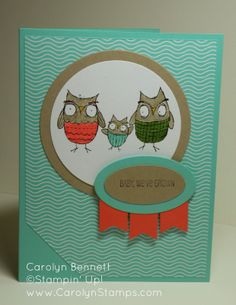 Carolyn's Paper Fantasies: Baby, We've Grown - TSSC299 owl baby Stampin' Up Carolyn Bennett