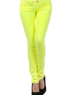 Neon Yellow Five Pocket Stretchy Jean,  Bottoms, neon bottoms  skinny jeans, Casual