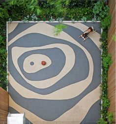 Abstract stained concrete yard offers imaginative possibilities for play (New York, Rees Roberts & Partners). Concrete Yard, Stained Concrete, Concrete Paving, Urban Landscape, Landscape Design, Garden Design, Paving Pattern, Paving Ideas, Patio Layout