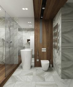Good combination of wood and stone Modern Baths, Contemporary Bathrooms, Modern Bathroom, Master Bathroom, Bathroom Design Small, Bathroom Interior Design, Home Interior, Lavatory Design, Powder Room Design