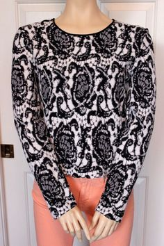 DKNY Donna Karen New York Women's Black & White Jacuard Pattern Sweater Size L in Clothing, Shoes & Accessories, Women's Clothing, Sweaters | eBay