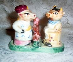 RARE Vintage Cow/Bull Cook 3 Piece Salt & Pepper Shakers Japan