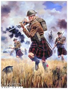 The Charge of the 1st Battalion Queens Own Cameron Highlanders at Escaut Canal, Belgium, 21 May 1940 by David Rowlands. The last Highland Regiment to wear a kilt in battle.