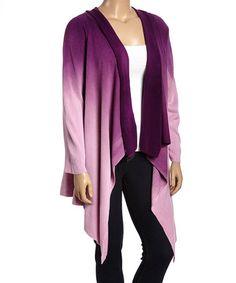 Look at this #zulilyfind! Lilac Dip-Dye Open Cardigan - Plus #zulilyfinds