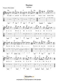 Nayino | Nota - Tab #Guitar #Gitar #Nota #Tab #score #Music #Müzik Ukulele Tabs, Ukulele Songs, Accordion Sheet Music, Violin Sheet, Video Clips, Kalimba, Guitar Lessons, Musicals, Told You So