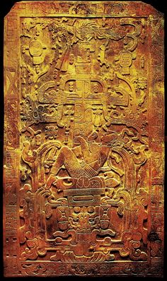 The carving on the tomb slab of K'inich Janaab' Pakal, or Pacal the Great.  It shows Pacal in the jaws of death with the World Tree above.  Scholars usually describe the scene as a reference to Pacal's death, Pacal is swallowed up by the underworld.