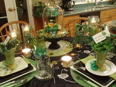 Table scape~+super cute decor~St.Pats   dining delight, via Flickr