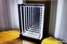 Modern Led Infinity Mirror Table Lamp: 19 Steps (with Pictures) Two Way Mirror, Mirror Words, Infinity Mirror Table, Led Tape, Luz Led, Industrial Lighting, Table Lamp, Table Mirror, Ideas