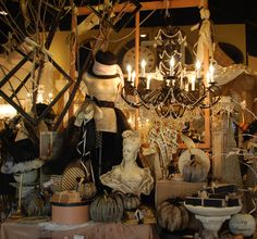 Make an elegant Halloween vignette, Dear Lizzie style. Duplicate the look of this posh Utah County boutique in your home this Halloween.