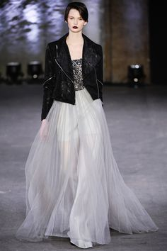 Christian Siriano Fall2012...biker jacket and evening gown just never gets old, if you ask me.