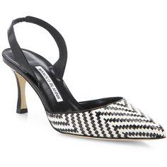 Manolo Blahnik Carolyne Raffia Slingbacks ($725) ❤ liked on Polyvore featuring shoes, sandals, apparel & accessories, slingback shoes, manolo blahnik shoes, manolo blahnik slingback, manolo blahnik sandals and slingback sandals