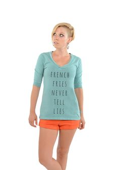 French Fries Never Tell Lies - Football V-Neck Tee