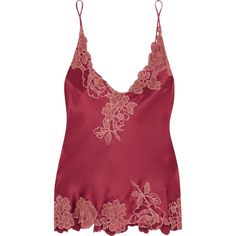 Carine Gilson Chantilly lace-trimmed silk-satin camisole ($855) ❤ liked on Polyvore featuring intimates, camis, burgundy, lace trim camisole, slimming cami, slimming camisole, carine gilson and lace trim cami