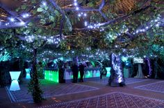 A Midsummer Night's Dream themed event with enchanted forest and banqueting room. Fairy themed props and ambient lighting for a magical event.