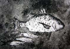 Indonesian Fish Drypoint print by Nazla, Year 10 Art