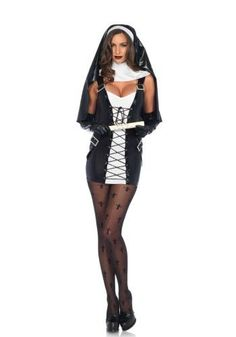 3 pc naughty nun costume includes wet look lace up dress with buckle accents, collar neck piece, and matching habit. Nun Fancy Dress, Costumes Sexy Halloween, Carnival Costumes, Nun Outfit, Nun Costume, Lace Up Bodycon Dress, Beautiful Costumes, Leg Avenue, Halloween Disfraces