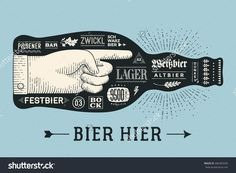 Bottle of beer with hand drawn lettering and text Bier Hier for Oktoberfest Beer Festival. Vintage drawing for bar, pub, beer themes. Isolated black bottle of beer with lettering. Vector Illustration