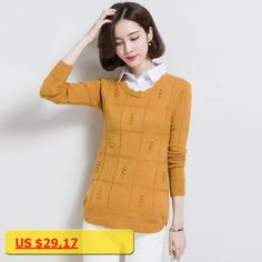 2017 plus size Autumn Winter Womens Pullover Sweater knit fake two-piece womens long-sleeved Pullover Cashmere sweaters AS36