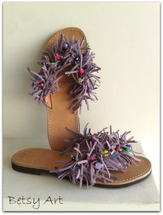 699183c88e63d6 Suede flip flop leather suede sandals by betsyarts on Etsy