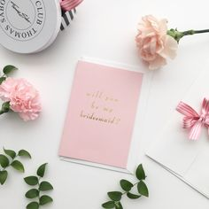 Gold foil will you be my bridesmaid card
