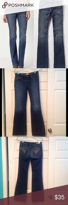 """'Hollywood Hills' Jeans Only a former fit model could create jeans that fit so well. With a flattering bootcut leg and subtly whiskered wash, you'll feel as if this versatile pair was made expressly for you.   Five-pocket styling  98% cotton & 2% spandex  33"""" inseam Paige Jeans Jeans Boot Cut"""
