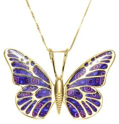 Gold Plated Sterling Silver Butterfly Necklace Pendant Handmade Purple Polymer Clay Jewelry, Gold Filled Chain by Adina Plastelina Handmade Jewelry -- Awesome products selected by Anna Churchill Gold Jewelry, Jewelery, Jewelry Accessories, Women Jewelry, Butterfly Jewelry, Butterfly Necklace, Handmade Polymer Clay, Polymer Clay Jewelry, Thing 1
