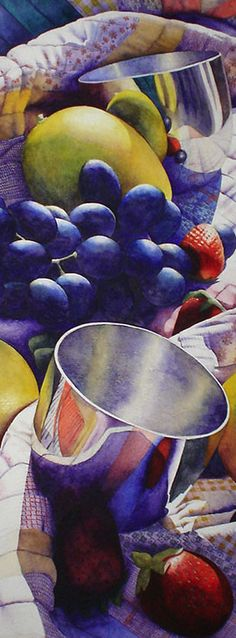 I am blown away by the rich, vibrant colors in this watercolor by Chris Krupinski.  The composition of this still life is very appealing and draws the viewer into the painting.  The reflections in the metal cups are absolutely beautiful.