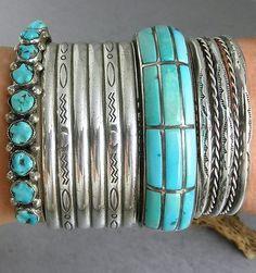 Old Pawn Navajo Stamped Sterling Cuff Bracelet