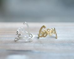 Cute Love You letter or word adjustable ring. Choose your color, Gold or Silver. DoubleBJewelry. Double B. DoubleB.