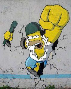 The Simpsons Street Art – Graffiti Comes To Life Graffiti Art, Street Art Banksy, 3d Street Art, Graffiti Cartoons, Graffiti Wallpaper, Urban Street Art, Street Artists, 3d Wallpaper, Art Jaune