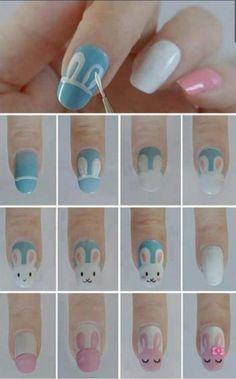Uñas de conejos kawai | Decoración de Uñas - Manicura y Nail Art