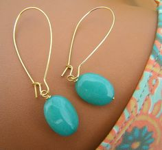 Mint Aqua Turquoise Jade Earrings Dangle Stones on by cuppacoffee, $12.50