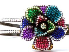 $19.99 Bling Bling! Flower Headband with Multi Color Rhinestones. Perfect for Women, Teens  Girls, Bling Bling Hair Accessory. Perfect for Christmas, Church, First Communion, Easter, Graduation, Sunday Dress, Christening or Birthday. by Hail Mary Gifts, www.amazon.com/...