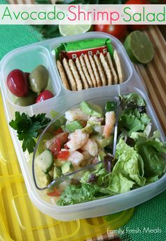 50 healthy work lunch ideas - FamilyFreshMeals.com - Avocado Shrimp Salad