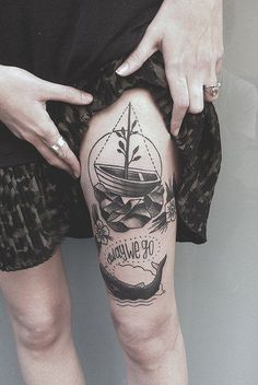Boat Tattoo on Woman's Thigh