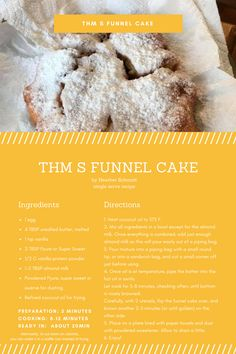 THM S funnel cake recipe, to keep us all on track during carnival or fair time! We don't have to give in to the sugar white flour death traps with this yummy fluffy recipe. There is also an alternative to frying this in the recipe.