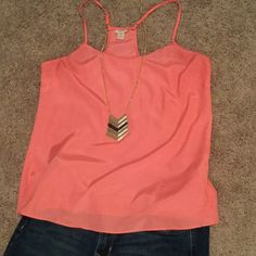 Silky J Crew Racerback Tank Coral-colored racerback tank from J Crew worn once! 100% polyester. Just a little tight on me. Great under a blazer or worn with jeans! Would fit a size large. J. Crew Tops Camisoles