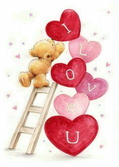 Teddy Bear Quotes, Teddy Bear Images, Teddy Bear Pictures, Bear Wallpaper, Love Wallpaper, Valentines Art, Happy Valentines Day, Illustration Inspiration, Cute Bear Drawings