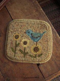 Bluebird in my Garden- Primitive Original Spring Bird Hand Hooked Wool Rug Mat