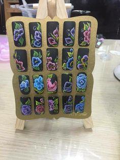 Uñas One Stroke, One Stroke Nails, One Stroke Painting, Nails & Co, Work Nails, Floral Nail Art, 3d Nail Art, Nail Deaigns, Nails Only