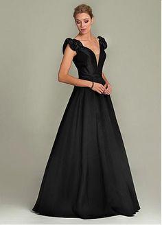 Charming Satin & Tulle V-neckline Neckline Floor-length A-line Formal Dress