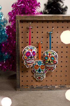 Embroidered Sugar Skull Ornaments